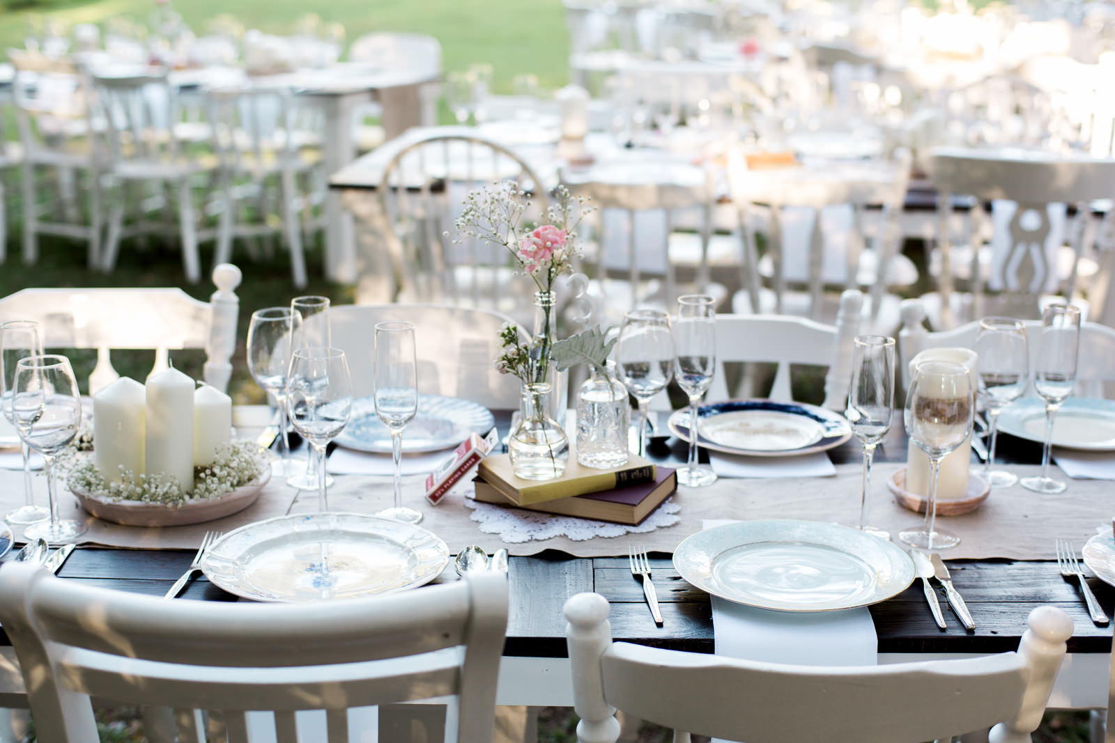 Vintage wedding reception table setting