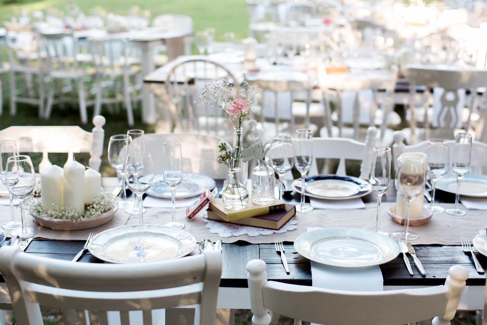 Vintage wedding reception table setting
